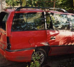 PC crash-damaged vehicle